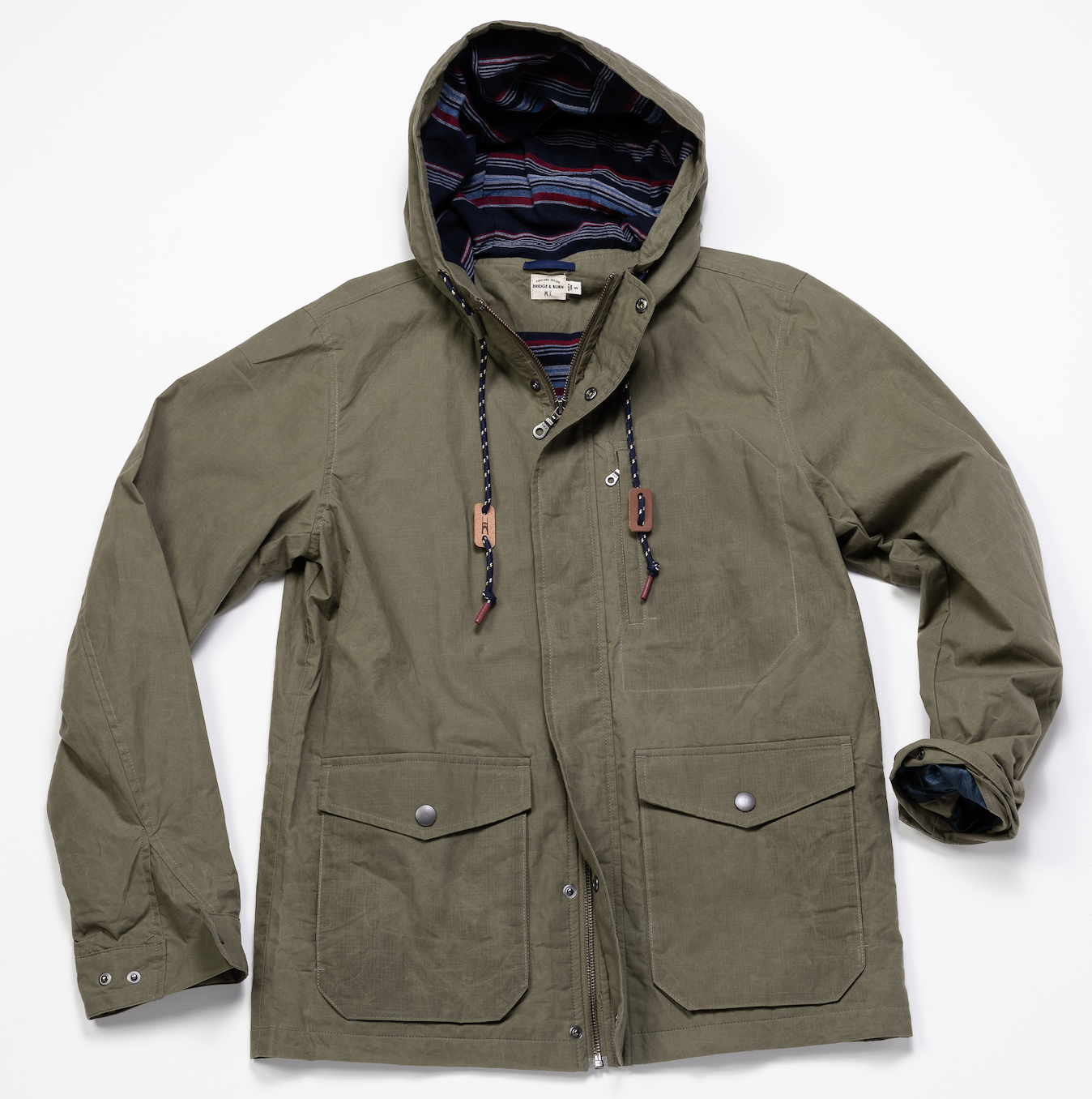 Hooded Waxed Ripstop Jacket – Olive