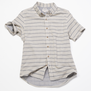 Short Sleeve Shirt // Indigo Striped Double Cloth