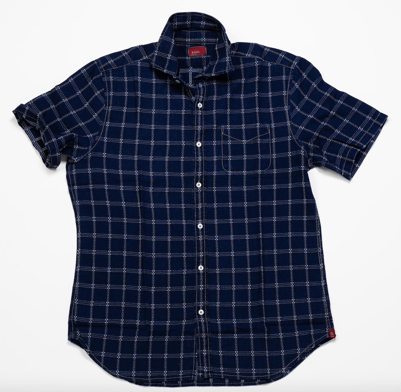 Short Sleeve Shirt – Dark Indigo Squares