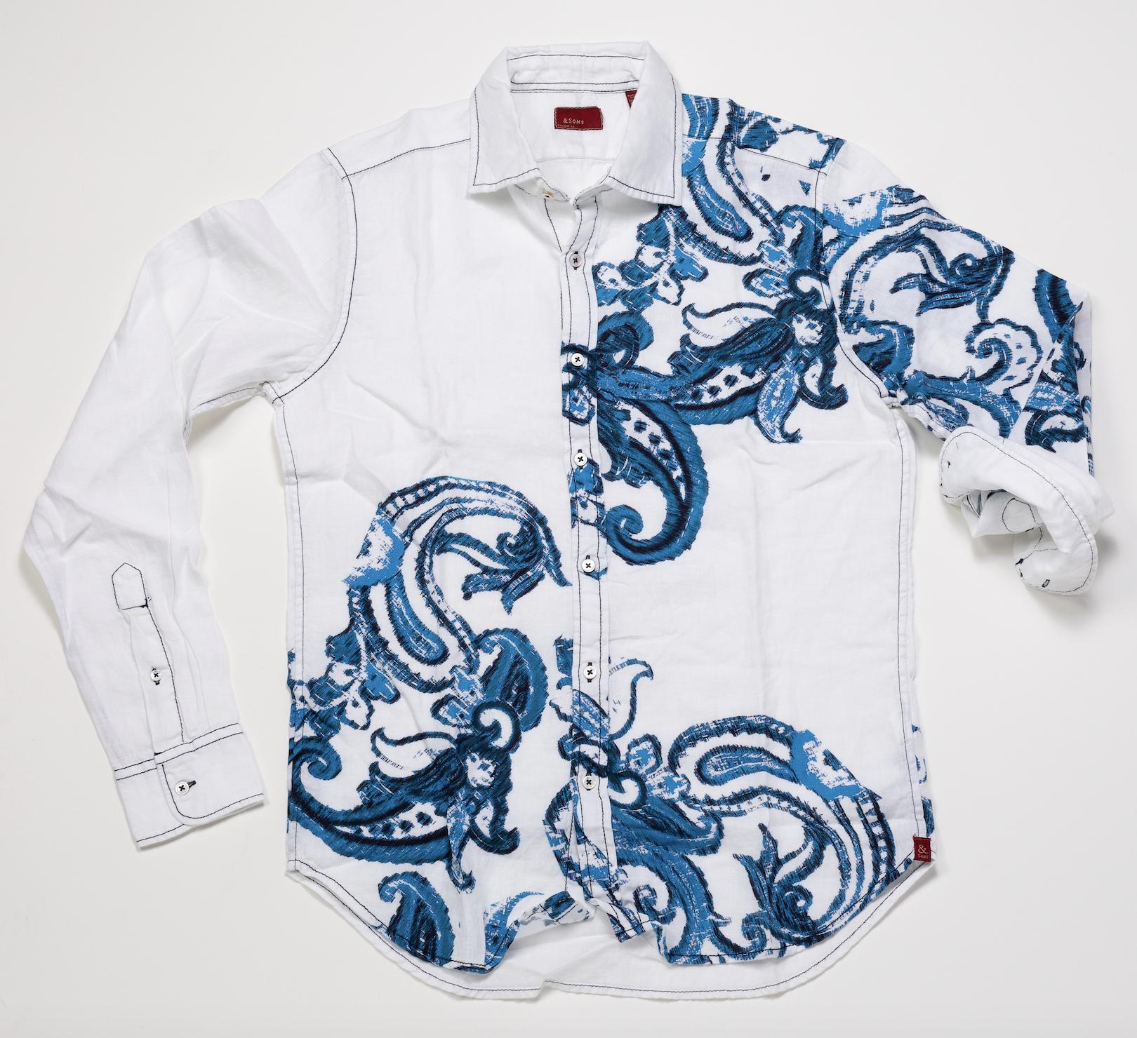 Long Sleeve Shirt – White w/ Blue Paisley Print