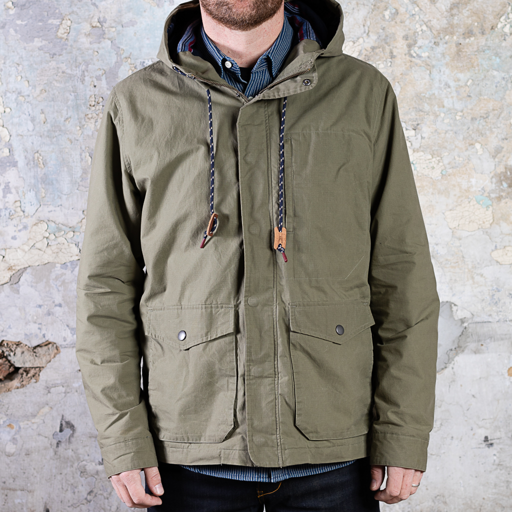 Bridge & Burn Waxed Ripstop Hooded Jacket :: Olive