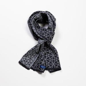 Geometric Flowers Reversible Wool Scarf – Grey
