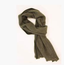 Herringbone Wool Scarf / Green & Beige