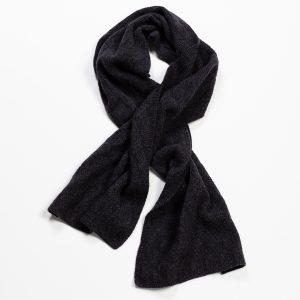 Rhombus Wool & Cashmere Knitted Scarf – Dark Grey