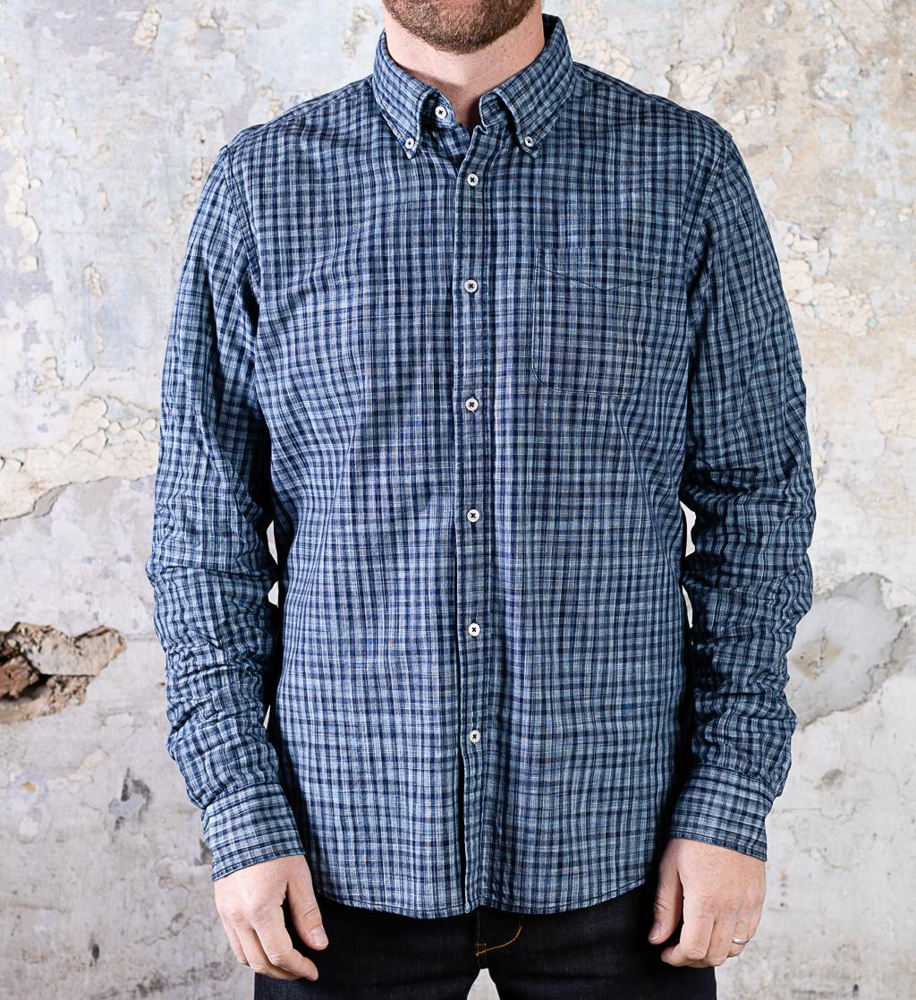 & Sons Checkers Shirt :: Dark Indigo (replacement)