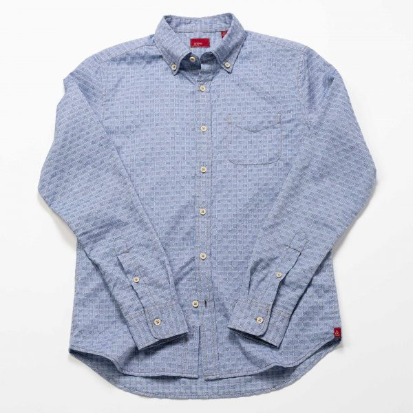Small Squares Print Shirt // Light Blue