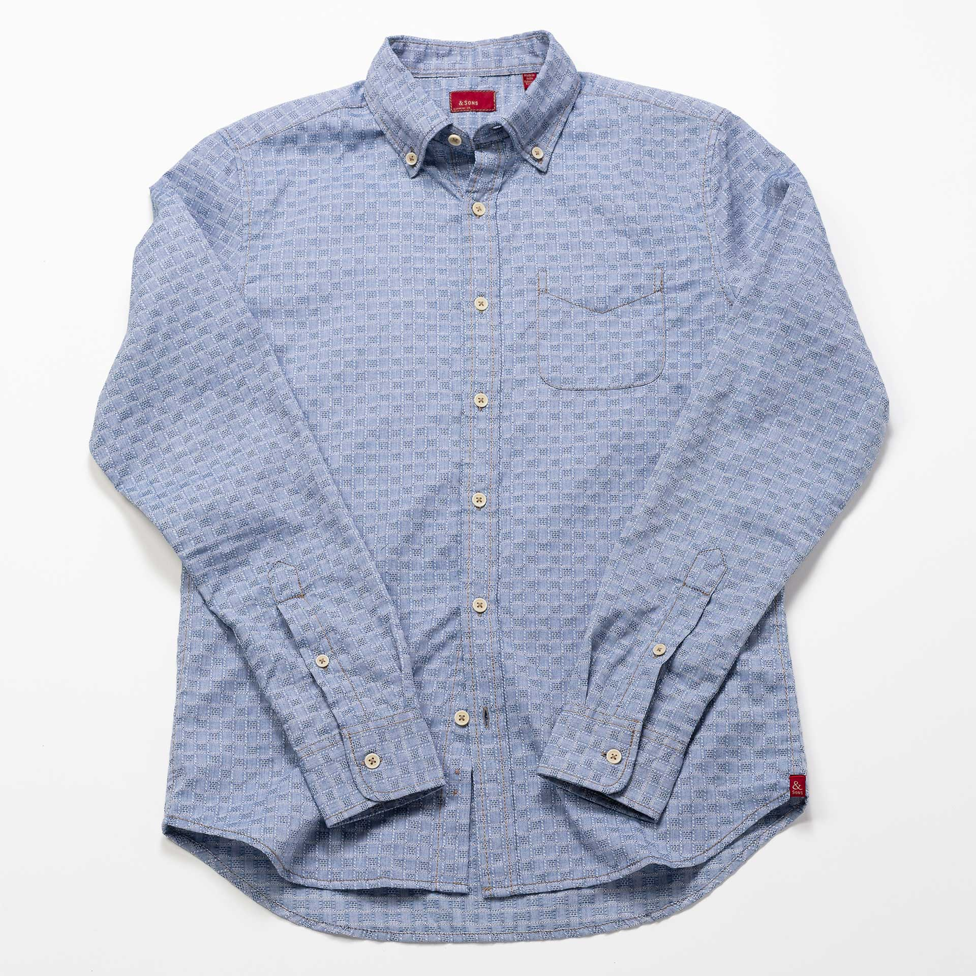 &-Sons-Garment-Co-Small-Squares-Print-Shirt