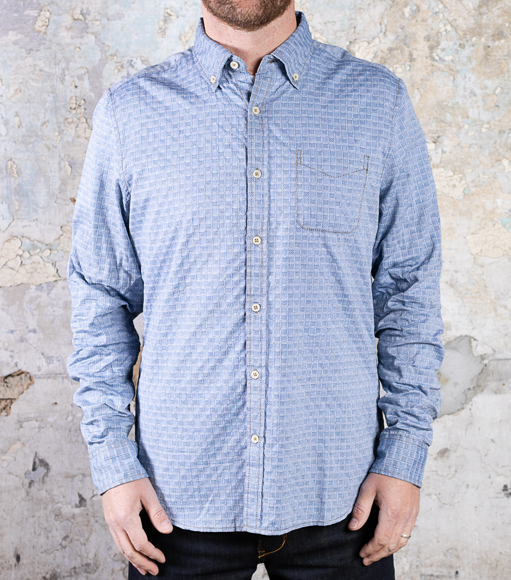 & Sons Small Squares Print Shirt :: Light Blue (replacement)