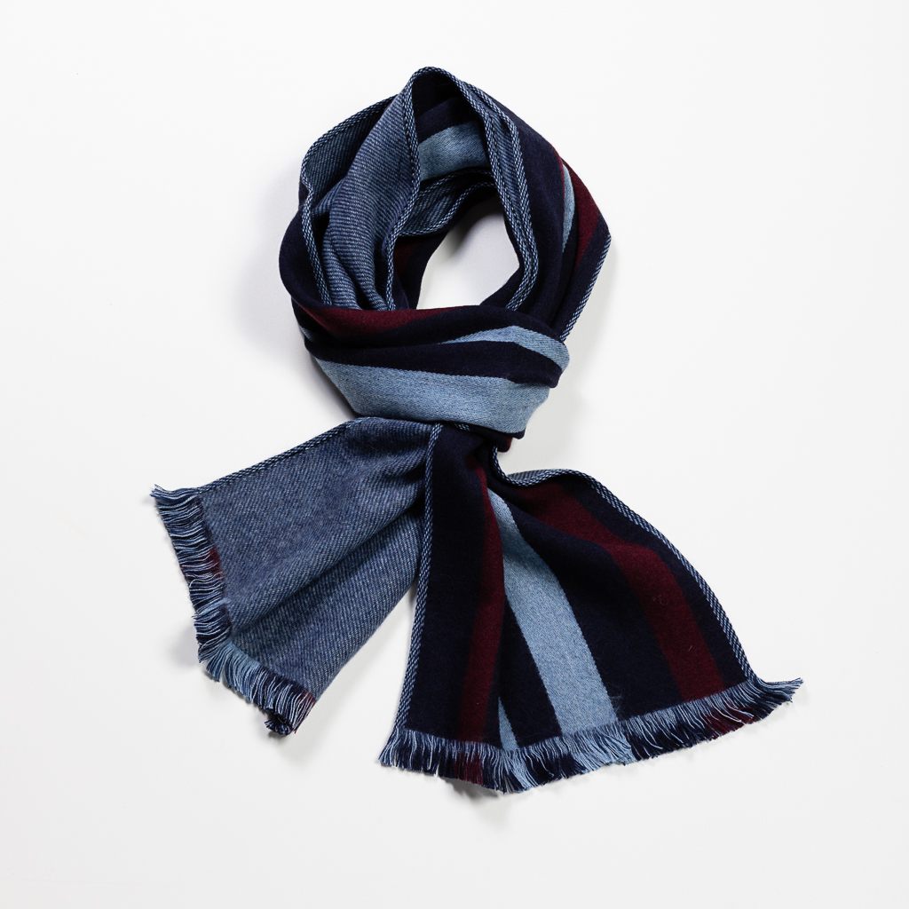 Striped Wool Woven Scarf // Navy