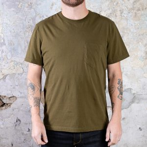 Homesun Knitwear Short Sleeve Pocket Tee :: Military Green (replacement)