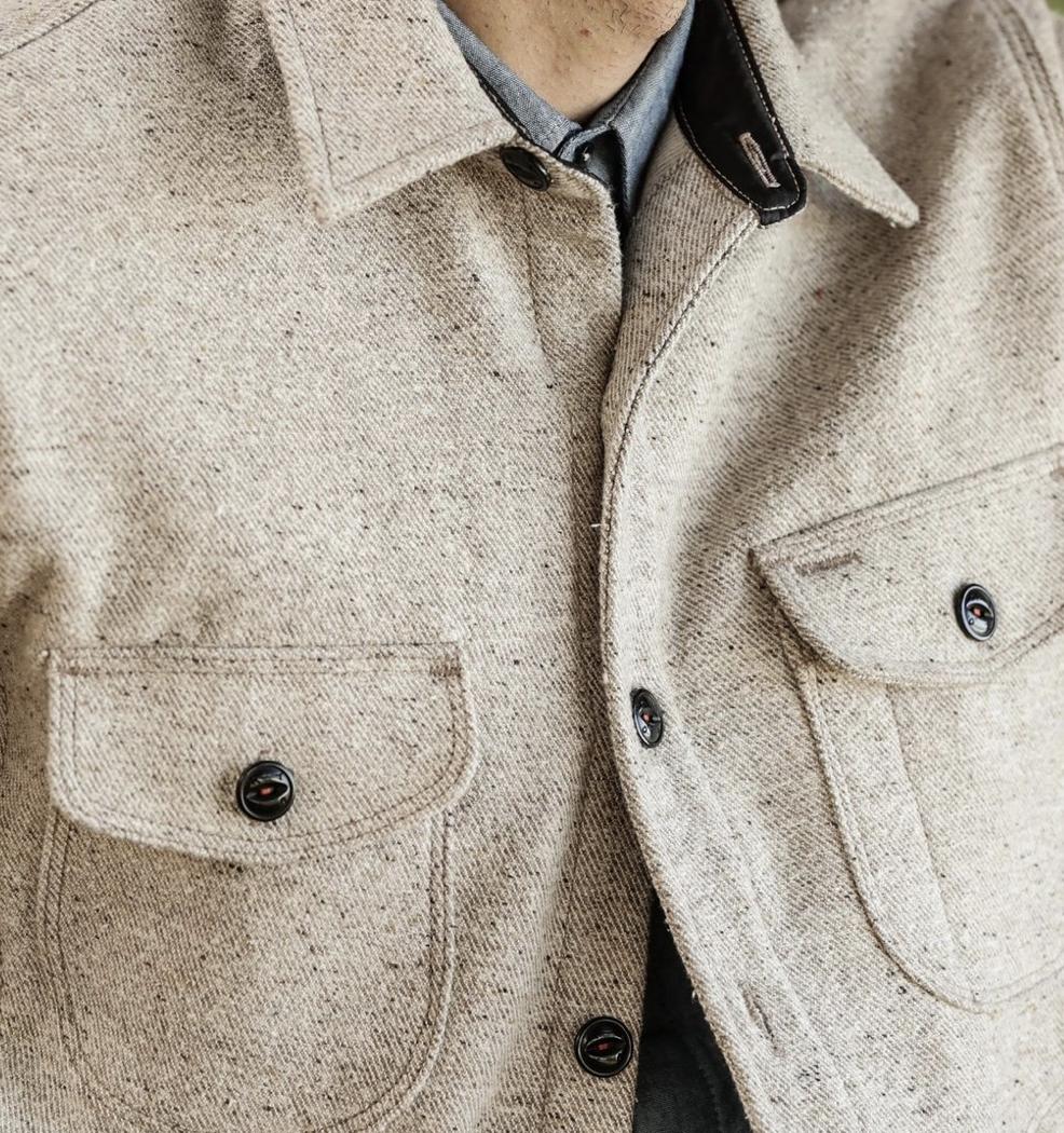 Anvil Shirt Jacket Oatmeal Detail