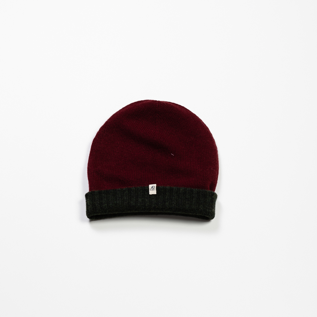Cashmere & Wool Blend Reversible Beanie :: Burgundy & Olive Image 1
