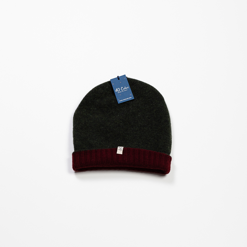 Cashmere & Wool Blend Reversible Beanie :: Burgundy & Olive Image 2