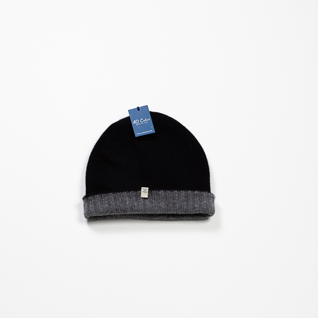 Cashmere & Wool Blend Reversible Beanie :: Grey & Black Image 1