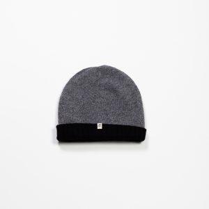 Cashmere & Wool Blend Reversible Beanie :: Grey & Black Image 2