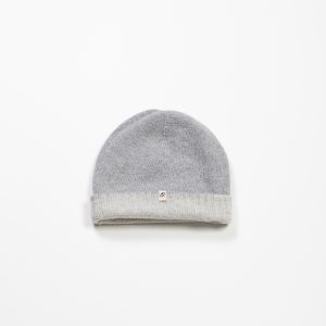Cashmere & Wool Blend Reversible Beanie :: Heather Grey & Cream Image 1