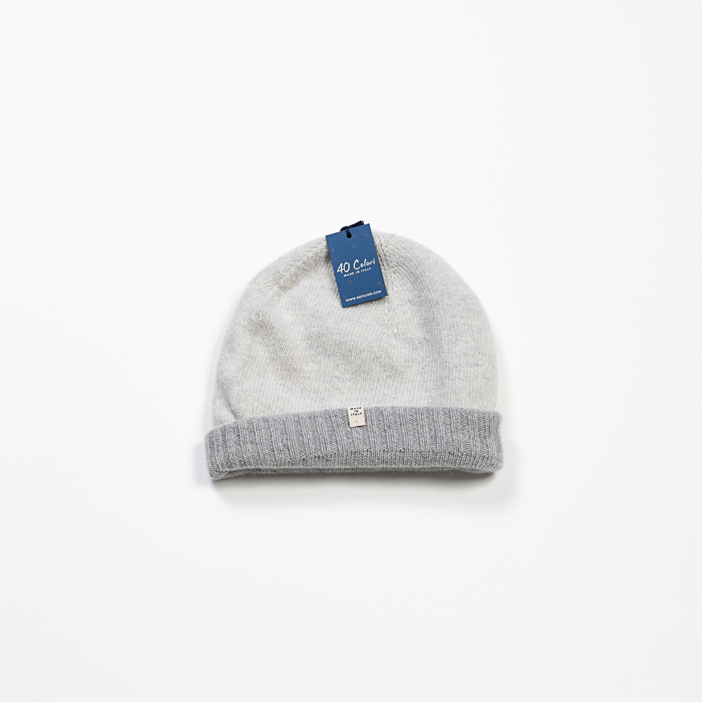 Cashmere & Wool Blend Reversible Beanie :: Heather Grey & Cream Image 2