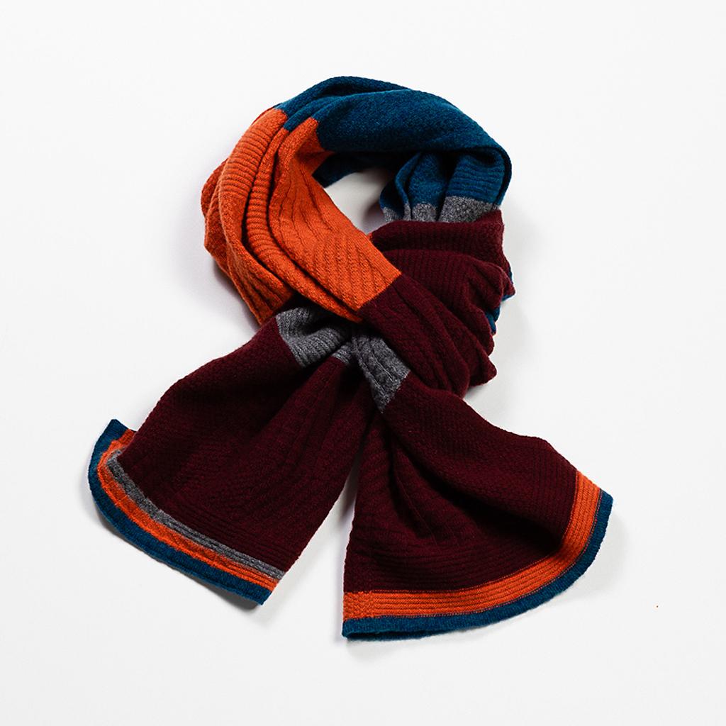 Cashmere & Wool Blend Scarf :: Burgundy & Flame 2