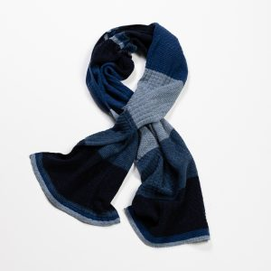 Cashmere & Wool Blend Scarf // Navy & Light Blue