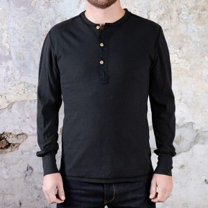 Long Sleeve Coal Miner Henley // Aged Black