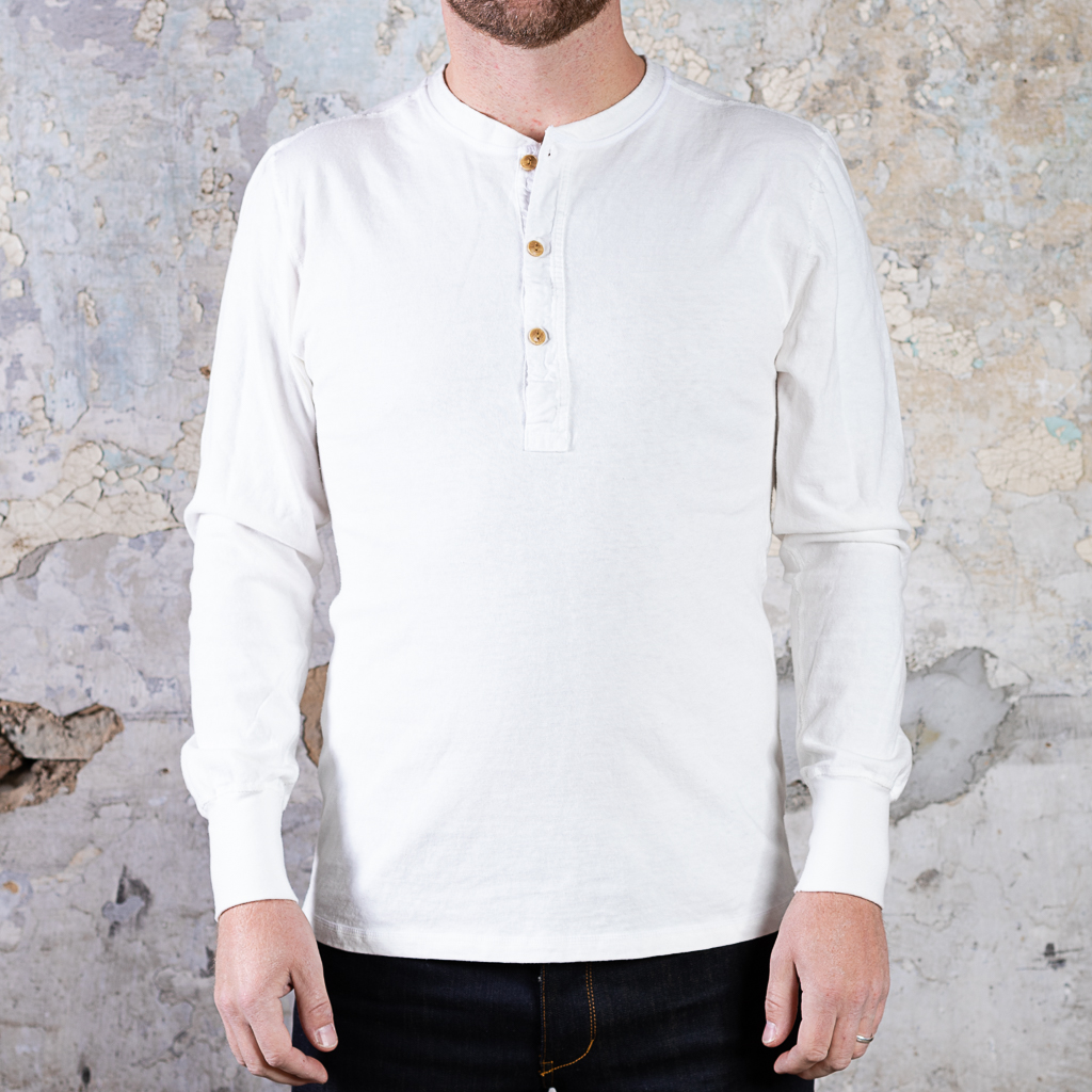 Homespun Knitwear Long Sleeve Coal Miner Henley :: Off White