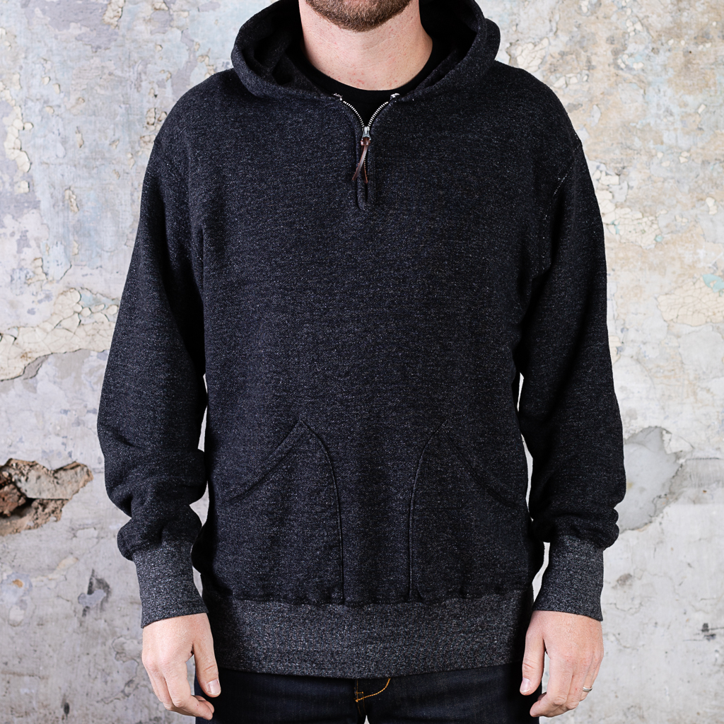 National Athletic Goods 1:4 Zip Pullover Parka :: Heather Black