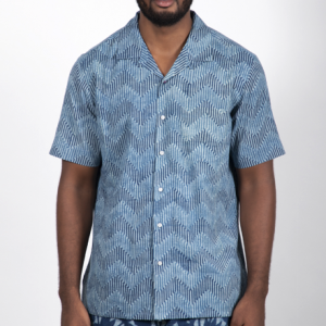 Camp Collar Shirt // Hand Block Print Indigo Waves