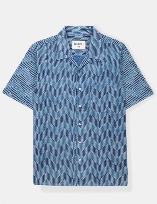 Camp Collar Shirt // Hand Block Print Indigo Waves