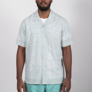 Camp Collar Shirt // Light Blue Hand Block Print