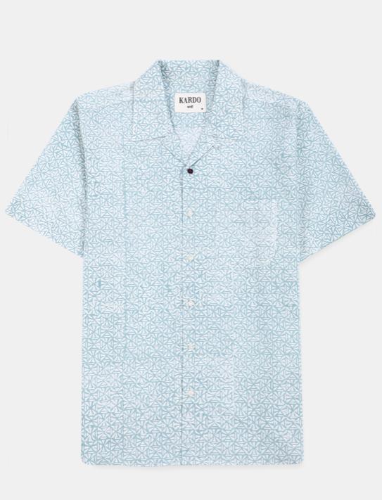 Camp Collar Shirt // Light Blue Hand Block Print