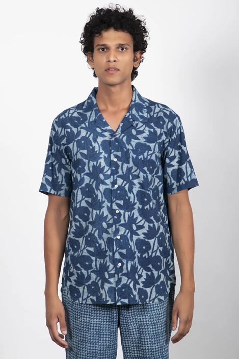 Camp Collar Shirt // Natural Indigo Floral Print