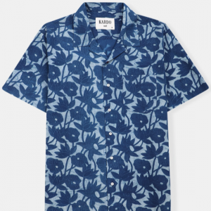 Camp Collar Shirt // Natural Indigo Floral Print