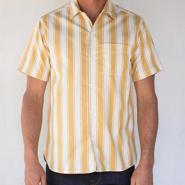 Hawaiian Camp Shirt // Vintage Yellow Stripe