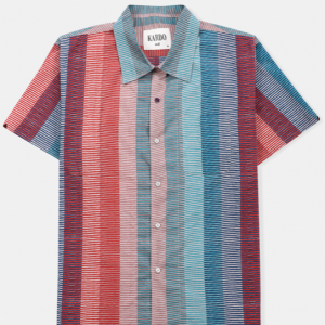 Open Collar Shirt // Hand Block Print Multi Stripes