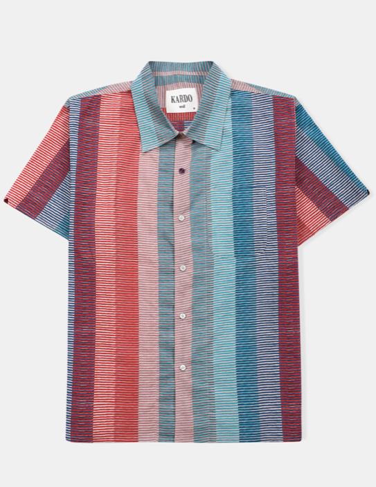 Open Collar Shirt // Hand Block Print Multi Stripes